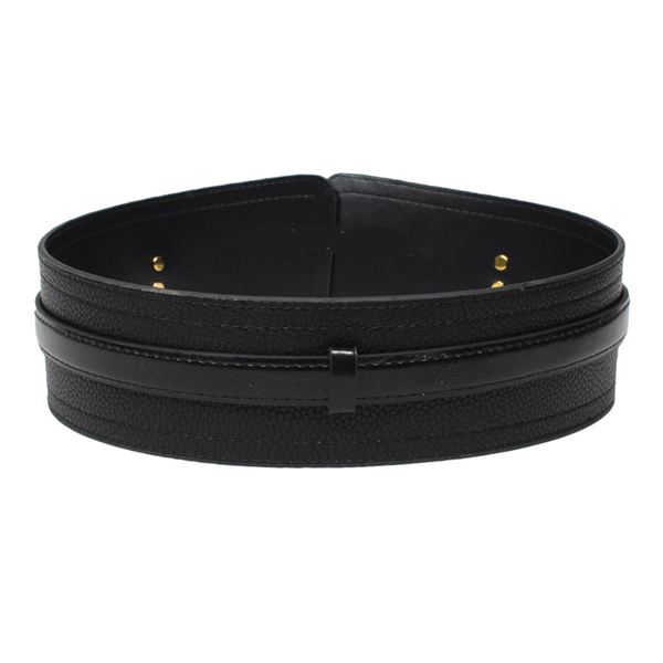Women Wide PU Leather High Waist Belt Cinch Black CC2006